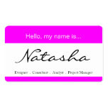 Pink & White Corporate Name Tag - Business Card