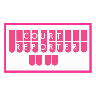 Pink white court reporter custom business cards