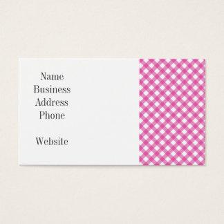 Pink White Criss Cross Diamond Argyle Pattern Gift Business Card