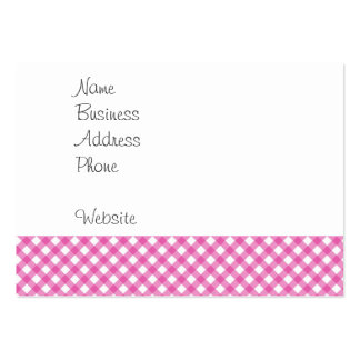 Pink White Criss Cross Diamond Argyle Pattern Gift Large Business Cards (Pack Of 100)