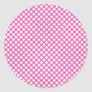 Pink White Criss Cross Diamond Argyle Pattern Gift Classic Round Sticker