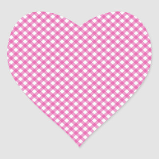 Pink White Criss Cross Diamond Argyle Pattern Gift Heart Sticker