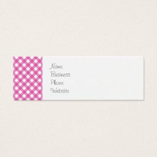 Pink White Criss Cross Diamond Argyle Pattern Gift Mini Business Card