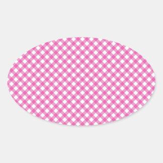 Pink White Criss Cross Diamond Argyle Pattern Gift Oval Sticker