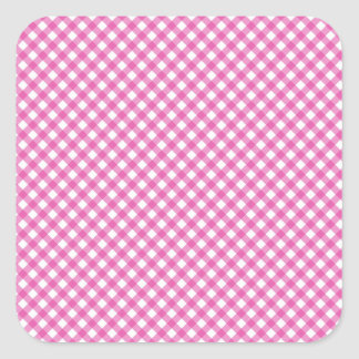 Pink White Criss Cross Diamond Argyle Pattern Gift Square Sticker