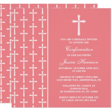 Beach Themed Pink & White Cross Holy Communion Or Confirmation Card