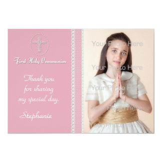 Pink White Cross Lace Religious Photo Card