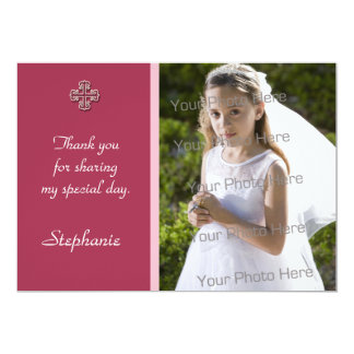 "Pink White Cross Religious Photo Card 5"" X 7"" Invitation Card"
