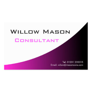 Pink White Curved, Professional Business Card