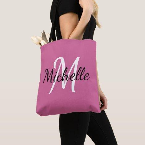 Pink & White Custom Monogram Tote Bag