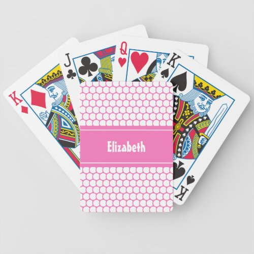 Pink  White Custom Personalized Name Geometric Bicycle Playing Cards