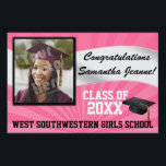 "Pink/White Custom Photo Graduation Yard Sign<br><div class=""desc"">Congratulations to the class of (your year). Customize this personalized yard banner sign with your graduate&#39;s photo,  name,  year and school or other custom text. Girly Girl&#39;s Pink and white sorority friends,  high school or college colors.</div>"
