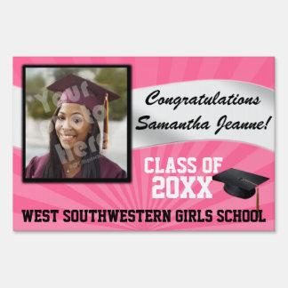Pink/White Custom Photo Graduation Yard Sign
