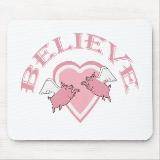 Pink White Cute Flying Pigs Believe Mouse Pad