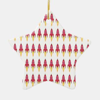 Pink & White Cute Retro Rocketship Cartoon Design Ceramic Ornament