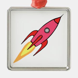 Pink & White Cute Retro Rocketship Cartoon Design Metal Ornament