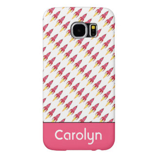 Pink & White Cute Retro Rocketship Personalized Samsung Galaxy S6 Cases