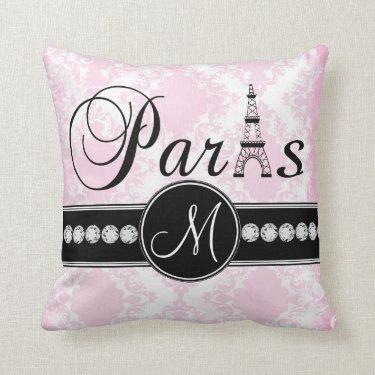 Pink White Damask Black Parisian Monogram Pillow