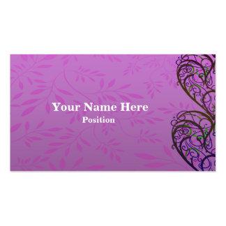 Pink White Damask Business Card