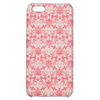 Pink White Damask Flower Pattern Cover For iPhone 5C
