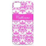 Pink white damask girls name iPhone 5 cover