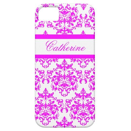 Pink white damask girls name iPhone SE/5/5s case