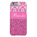 Pink & White Damask & Glitter Rhinestone Case Barely There iPhone 6 Case