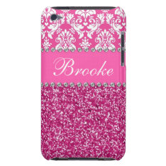 Pink & White Damask & Glitter Rhinestone Case at Zazzle
