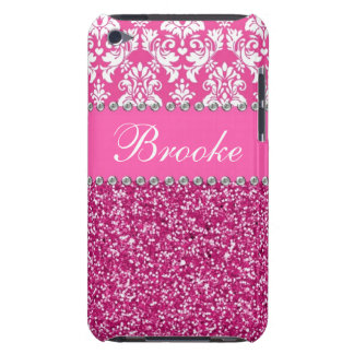 Pink & White Damask & Glitter Rhinestone Case iPod Touch Cover