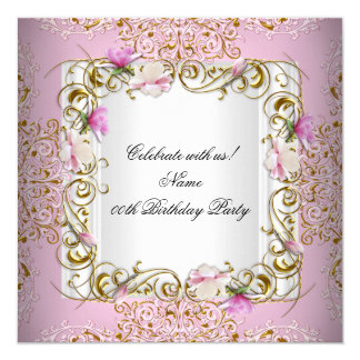 Pink White Damask Gold Flowers Birthday Party Invitation
