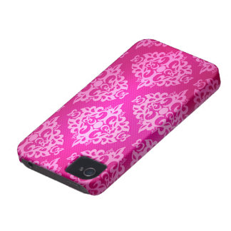 Pink White Damask iPhone 4 Cover