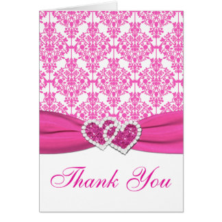 Pink, White Damask Joined Hearts Thank You Card Greeting Cards
