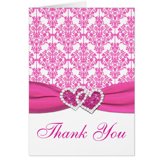 Pink, White Damask Joined Hearts Thank You Card