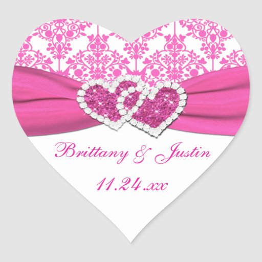 Pink, White Damask Joined Hearts Wedding Sticker