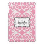 Pink & White Damask monogram iPad mini case