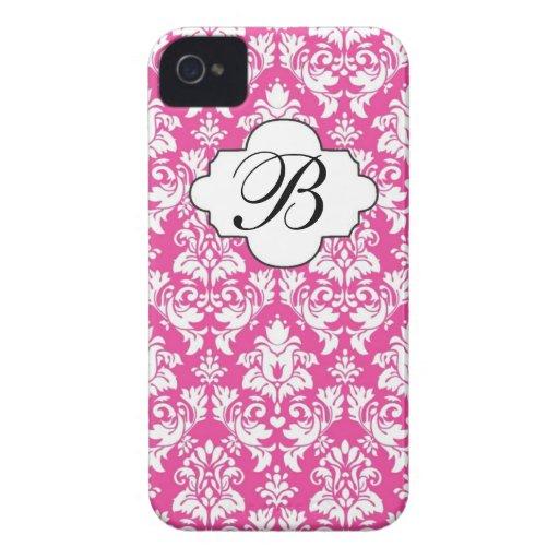 Pink & White Damask Monogram Phone Case