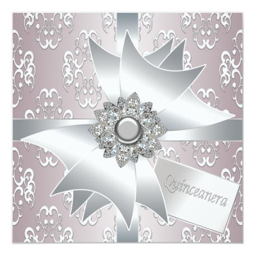 Pink White Damask Quinceanera Invitations
