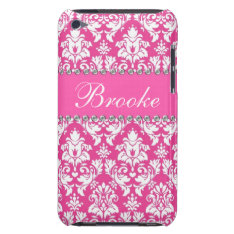 Pink & White Damask Rhinestone Bling Name Case at Zazzle