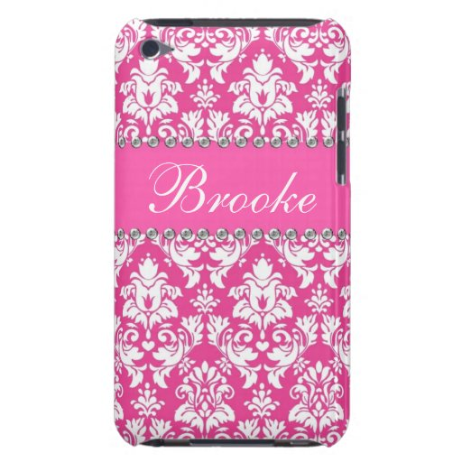 Pink & White Damask Rhinestone Bling Name Case iPod Touch Cover