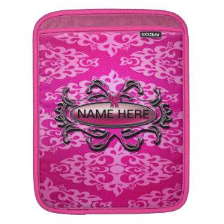 Pink White Damask Zebra Print Ipad Sleeve