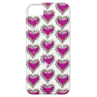 Pink white diamond heart iPhone SE/5/5s case