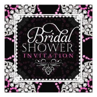 Pink White Diamond Sparkle Bridal Shower Invite