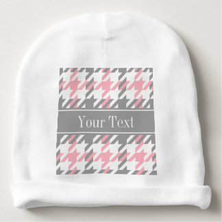 Pink White Dk Gray Houndstooth Name Monogram Baby Beanie
