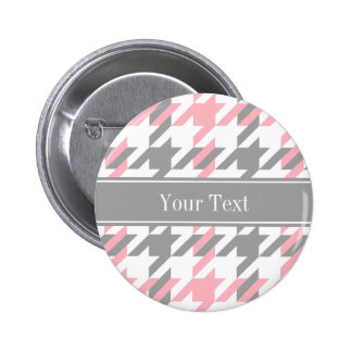 Pink White Dk Gray Houndstooth Name Monogram 2 Inch Round Button
