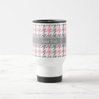 Pink White Dk Gray Houndstooth Name Monogram 15 Oz Stainless Steel Travel Mug