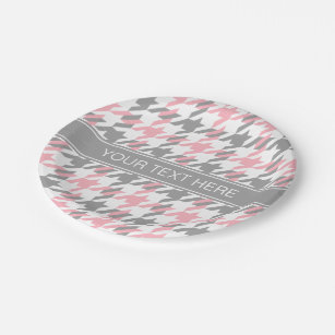 Pink White Dk Gray Houndstooth Name Monogram Paper Plate  sc 1 st  Zazzle & Gray Houndstooth Plates | Zazzle