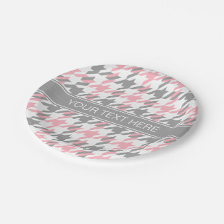 Pink White Dk Gray Houndstooth Name Monogram Paper Plate