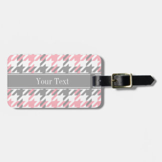 Pink White Dk Gray Houndstooth Name Monogram Tag For Luggage