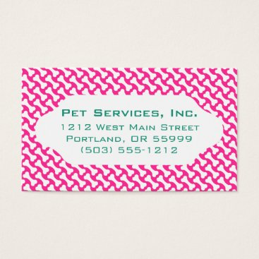 Professional Business Pink & white dog bones custom business card