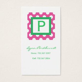 Pink & White Dot Calling Card
